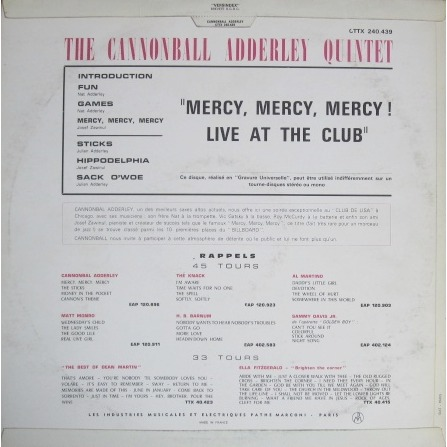 CANNONBALL ADDERLEY QUINTET mercy mercy mercy - live at ...