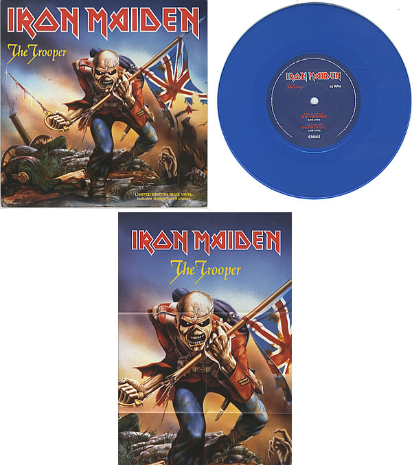 IRON MAIDEN THE TROOPER 7 Blue Vinyl Ltd Poster