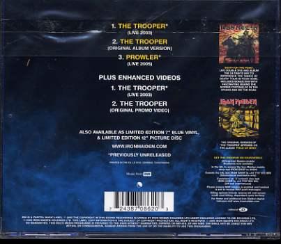 IRON MAIDEN the trooper (cdsing) cdem662 3 tit +2 video -u.k