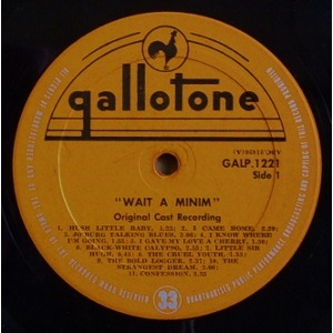ORIGINAL CAST RECORDING WAIT A MINIM! - LEON GLUCKMAN