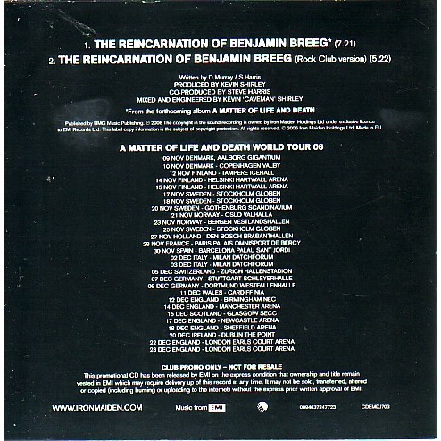 iron maiden the reincarnation of benjamin breeg (club promo)