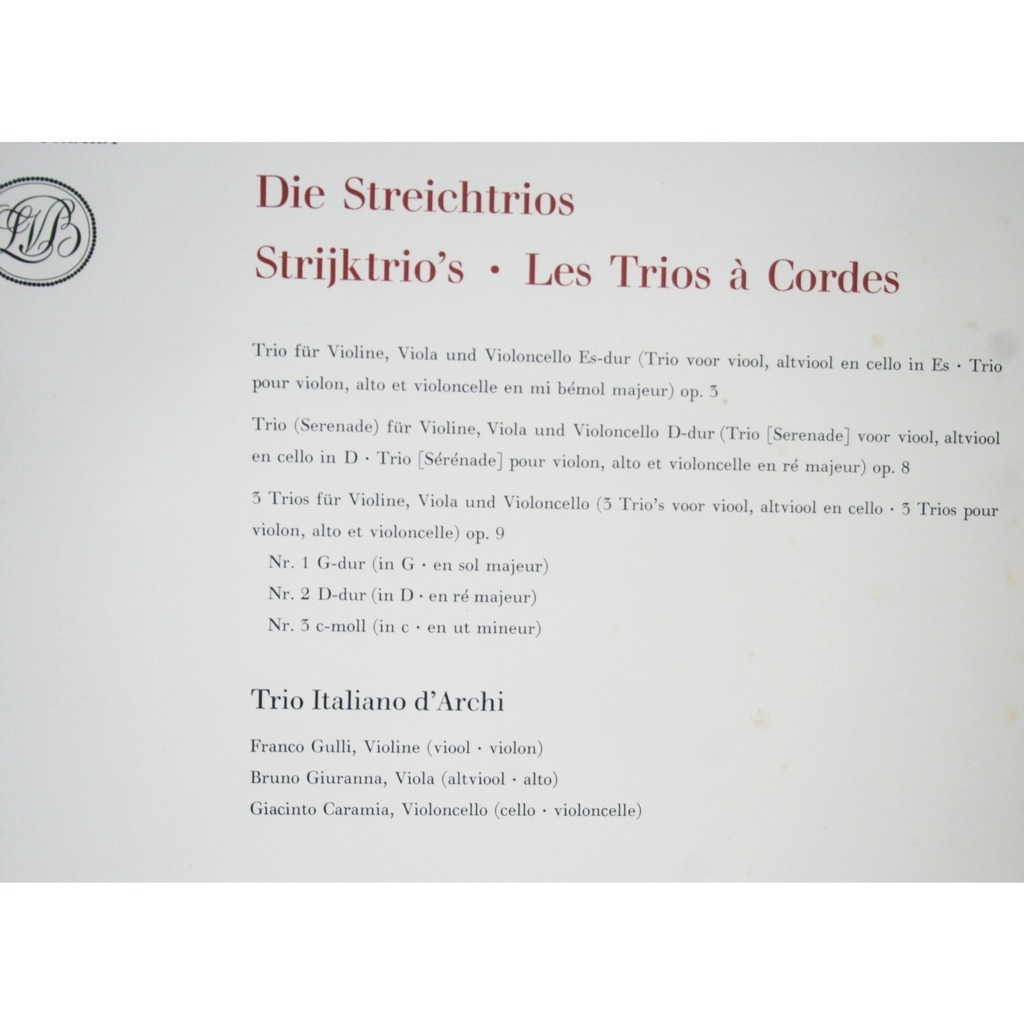 Beethoven edition vol 5 streichtrios string by Trios Franco Gulli -  Giuranna, LP x 3 with chapoultepek69