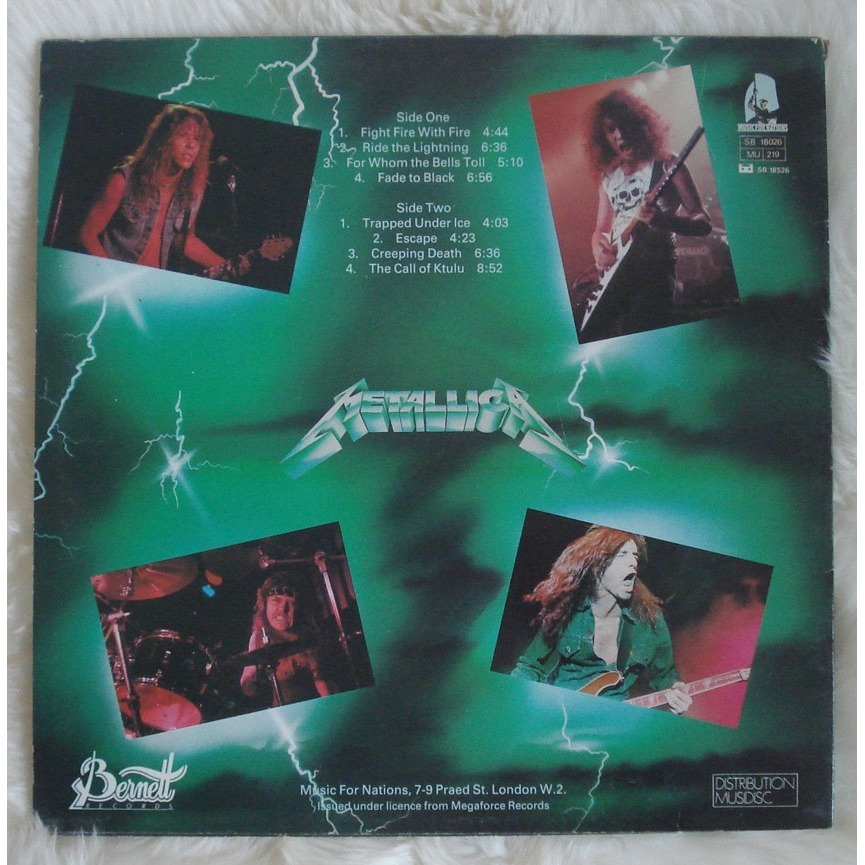 Ride The Lightning Rare French Green Sleeve By