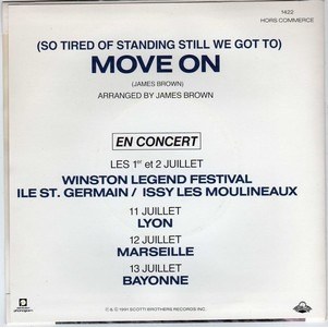 JAMES BROWN ( SO TIRED OF STANDING STILL WE GOT TO ) MOVE ON  ..  PROMO MONOFACE