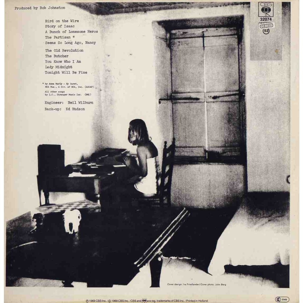 Songs From A Room By Leonard Cohen Lp With Grigo Ref