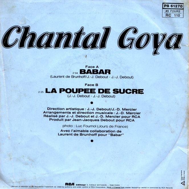 goya, chantal babar / la poupée de sucre