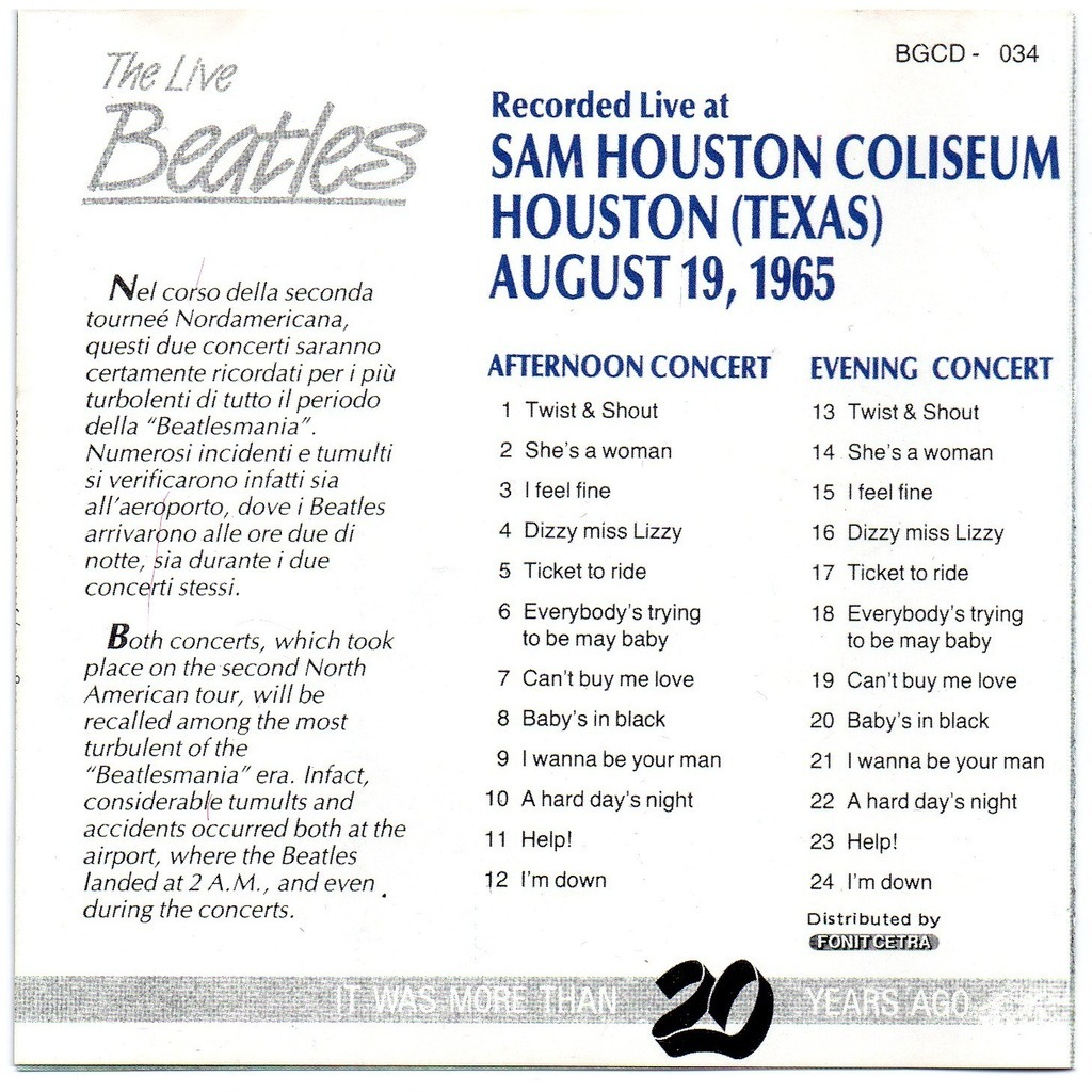 recorded live at sam houston coliseum august 19 1965 the beatles