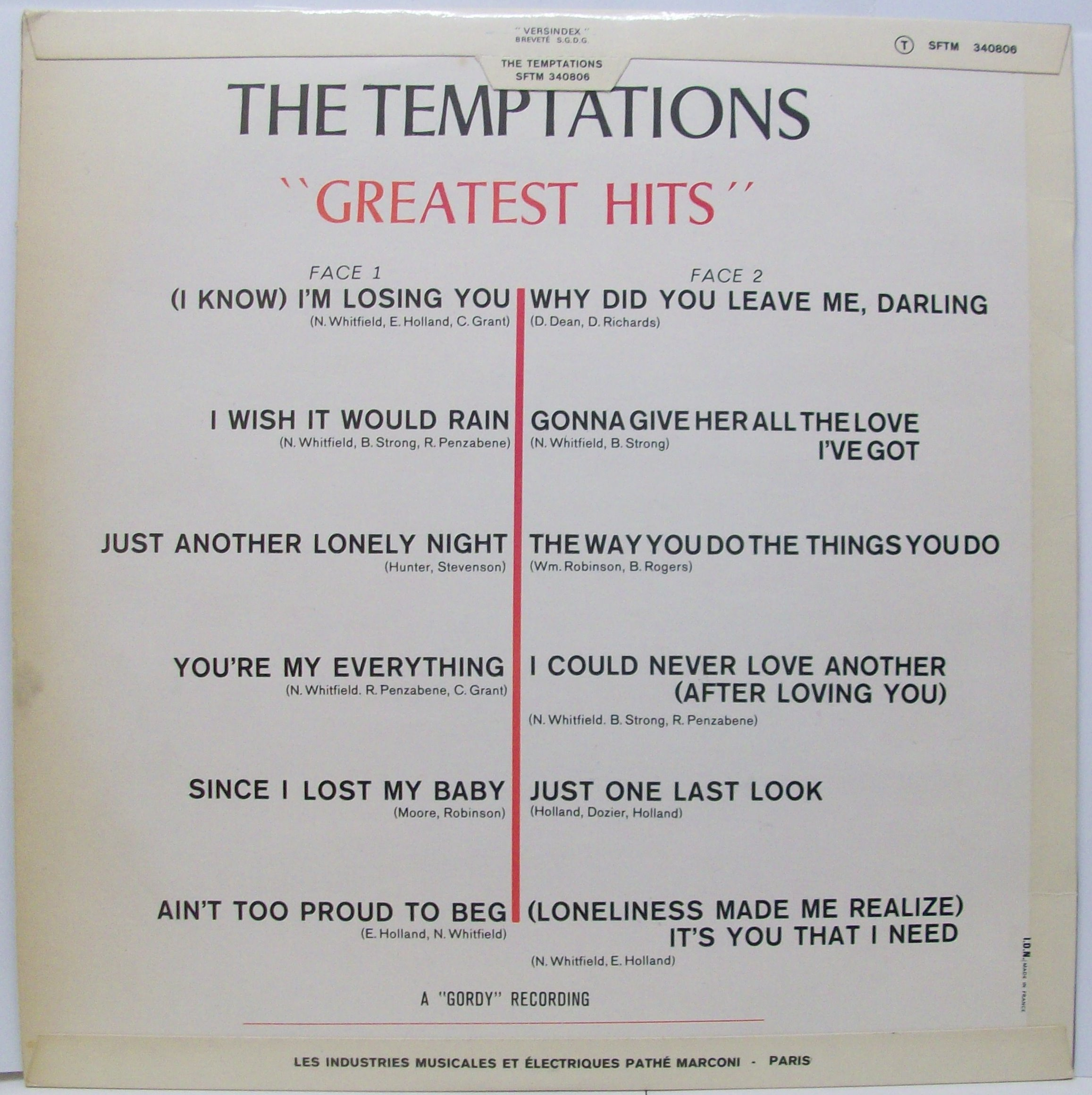 Greatest Hits By The Temptations Lp With Jetrecords Ref