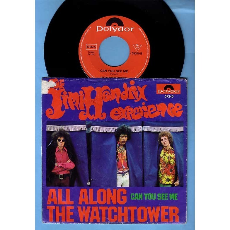 THE JIMI HENDRIX EXPERIENCE all along the watchtower / can you see me - scarce 1st German issue - red label