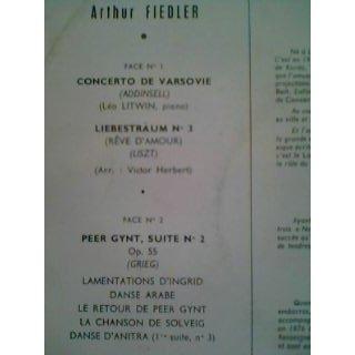 Arthur Fiedler Grieg : Peer Gynt - Addinsell : Concerto de Varsovie - Liszt : Rêve d'Amour