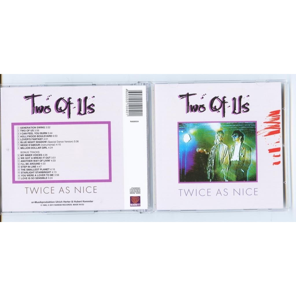 TWO OF US Twice As Nice / Inside Out (2 albums on 1 cd)