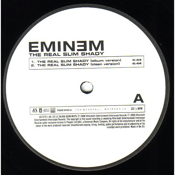 The real slim shady (album version) (clean) (instr) (a cap) by Eminem,  12inch with ny-212