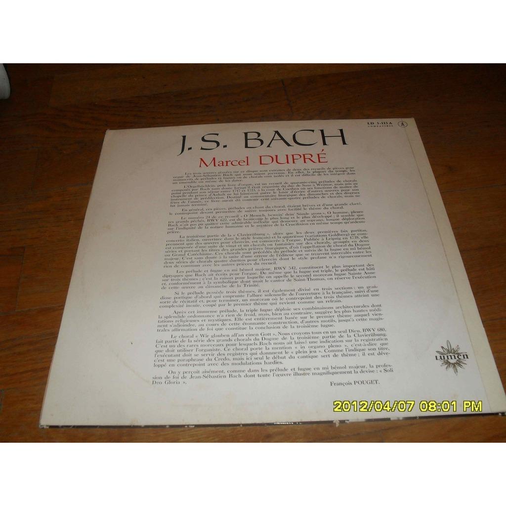 marcel dupre bach: choral,prelude,fugue,choral