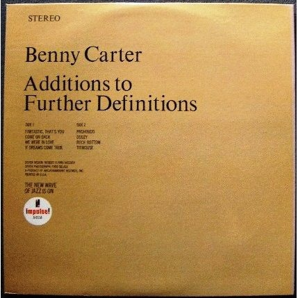 ... Benny Carter Additions To Further Definitions ...