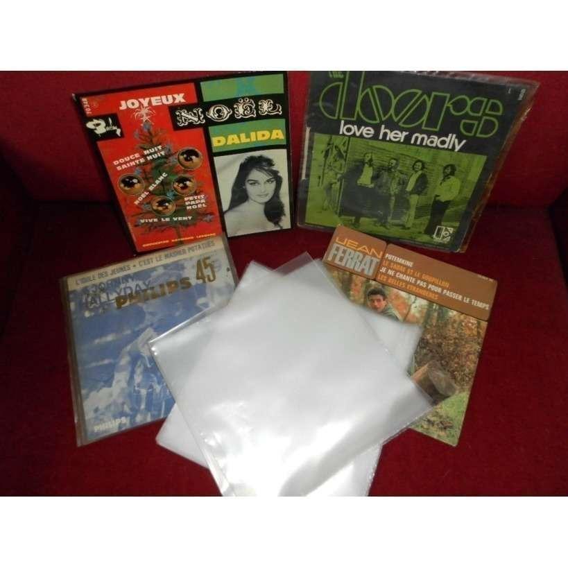 100 POCHETTES PLASTIQUES VINYLES 45 T. 100 pochettes plastiques disques vinyls 45 tours - 80 microns polyéthylène