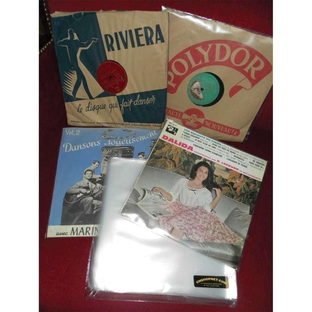100 POCHETTES PLASTIQUES VINYLES 78 T. 100 pochettes plastiques neuves disques vinyles 25 cm / 78 tours - 80 microns polyéthylène