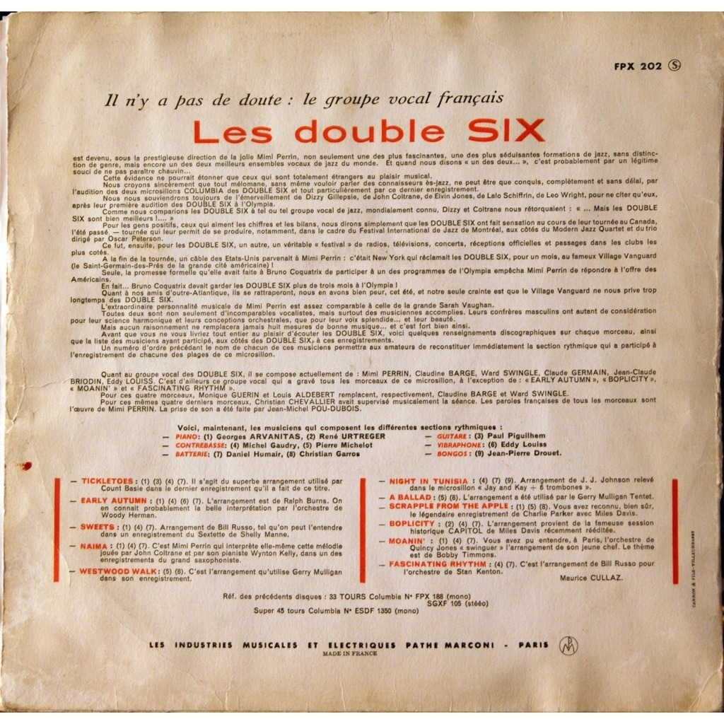 les double six (double six of Paris) les double six