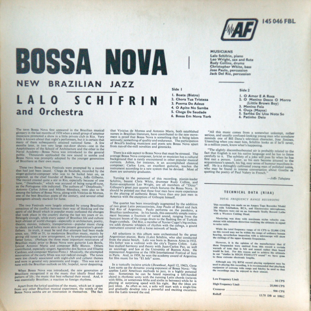 Bossa nova new brazilian jazz - french pressing by Lalo Schifrin, LP with  rarissime