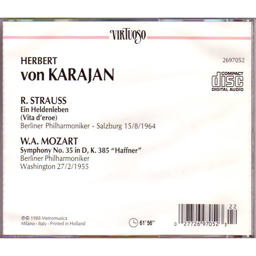 Herbert Von Karajan / Berlin philharmonic orchestr R.STRAUSS Ein Heldenleben (vita d'eroe) W.A.MOZART Symphony n°35 inD'K.385 Haffner