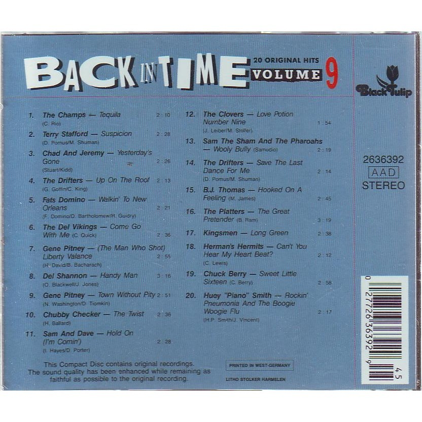 BACK TIME  VOLUME 9 ORIGINAL HITS