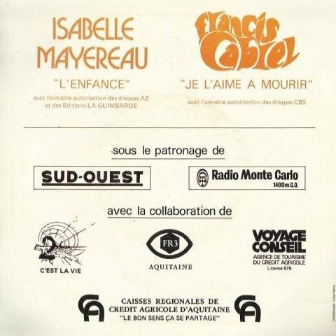 Isabelle Mayereau/ Francis Cabrel l'enfance / je l'aime à mourir (Opération Tournesol, Semez le Soleil)