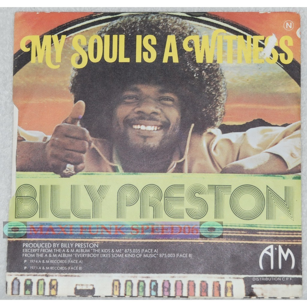 Album cover for 'My soul is a witness' by Billy Preston.