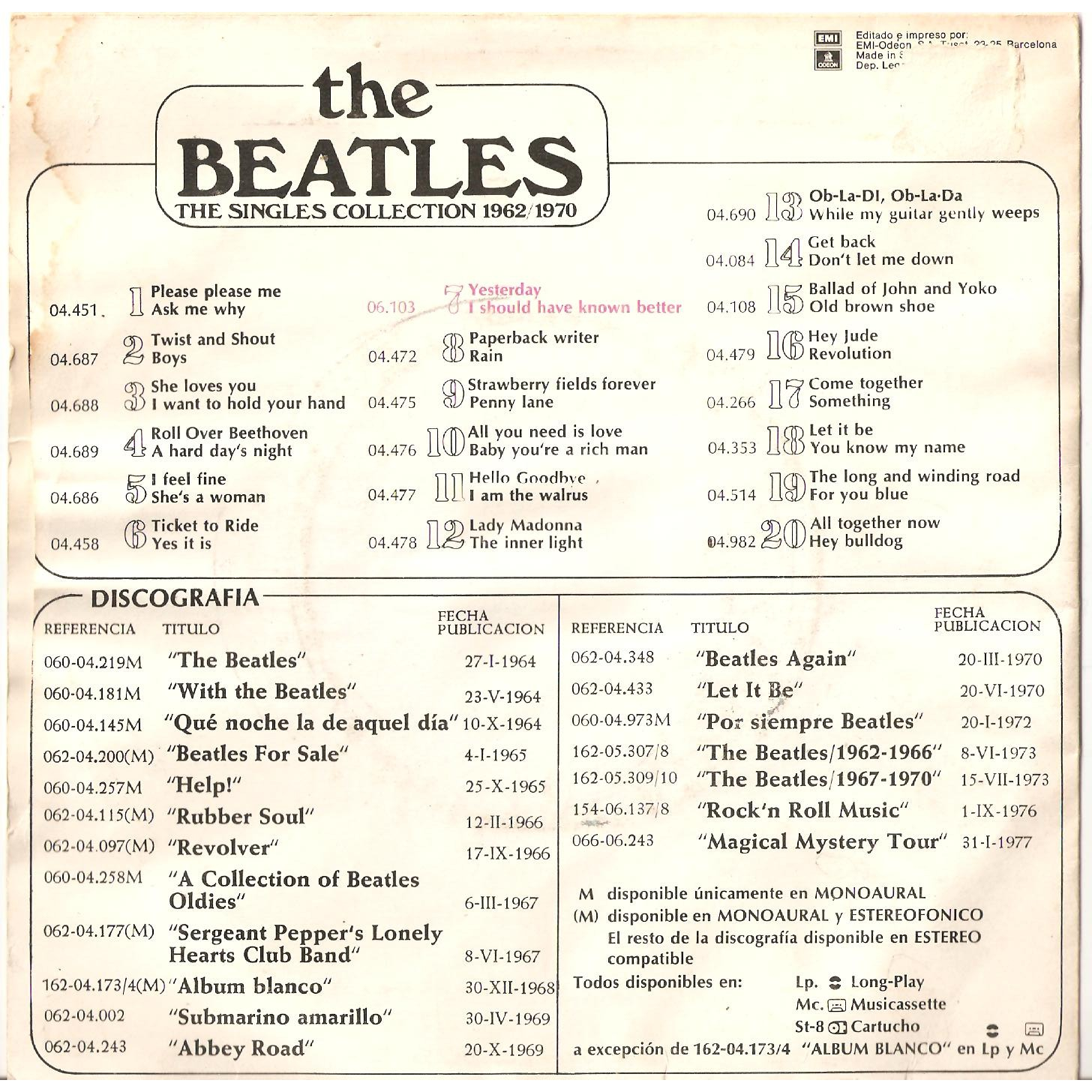 beatles the yesterday +1 (singles collection)