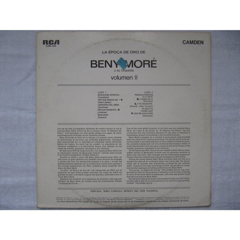 BENY MORE y su Orquesta LA EPOCA DE ORO DE BENY MORE VOLUMEN II