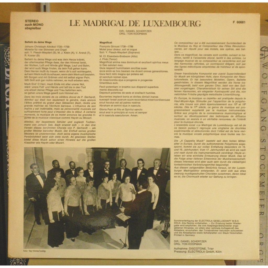 Le Madrigal de Luxembourg - Daniel Schertzer Altnikol : Motet 4 Voix & Orgue - François Giroust : Magnificat - Le Madrigal de Luxembourg